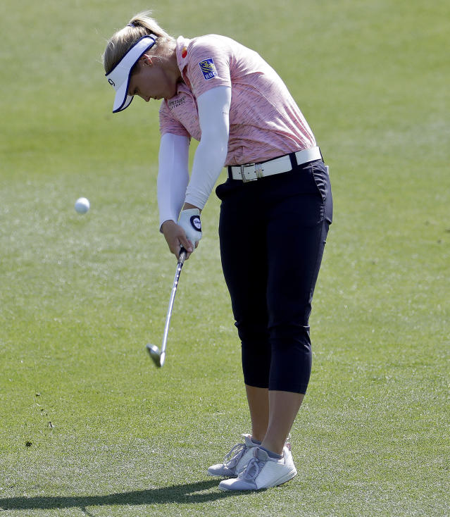 Brooke Henderson hits from the third fairway during the final round of the Founders Cup LPGA golf tournament, Sunday, March 24, 2019, in Phoenix. (AP Photo/Matt York)