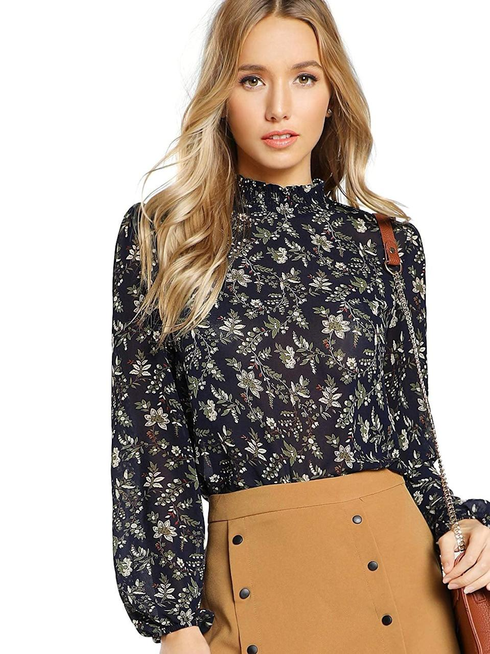 <p>This <span>Floerns Floral Print Chiffon Blouse</span> ($20) comes in several different prints.</p>