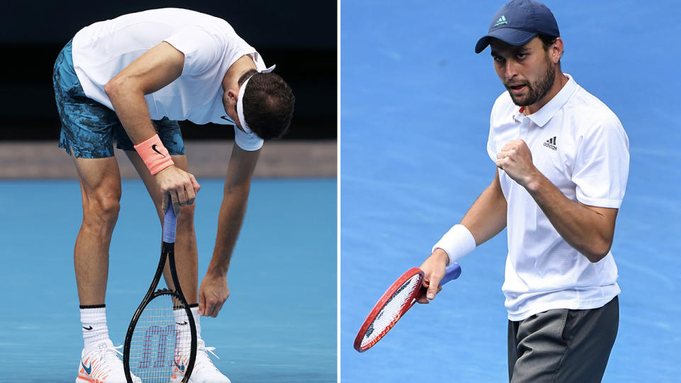 Aslan Karatsev and Grigor Dimitrov, pictured here in action at the Australian Open.