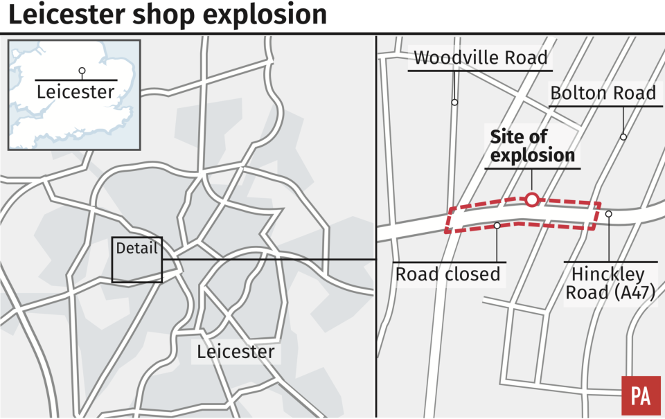 <em>The location of the explosion at a street in Leicester (PA)</em>
