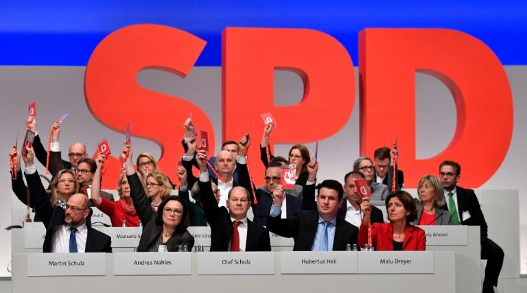 The centre-left SPD party voted to kick off exploratory talks with Chancellor Angela Merkel's conservative CDU/CSU union on December