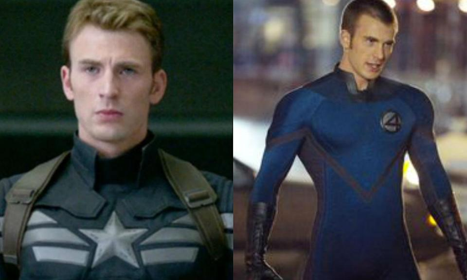 <p>Chris Evans played the Human Torch before Michael B. Jordan, in two<em> Fantastic Four</em> movies, but can currently be seen brooding as Captain America in the MCU. </p>