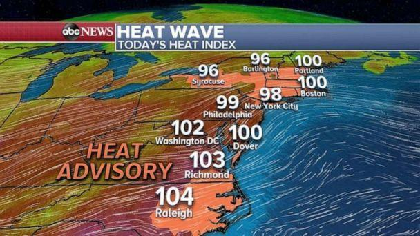 PHOTO: A Heat Advisory has been issued from North Carolina to Maine where temperatures could get close to 100 degrees. (ABC News)