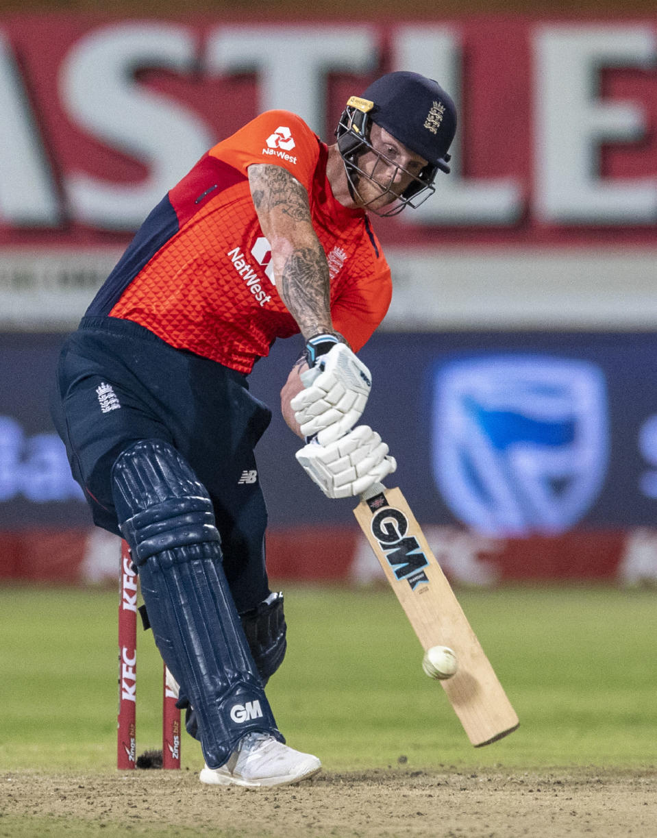 England's batsman Ben Stokes plays a shot during the 2nd T20 cricket match between South Africa and England at Kingsmead stadium in Durban, South Africa, Friday, Feb. 14, 2020. (AP Photo/Themba Hadebe)