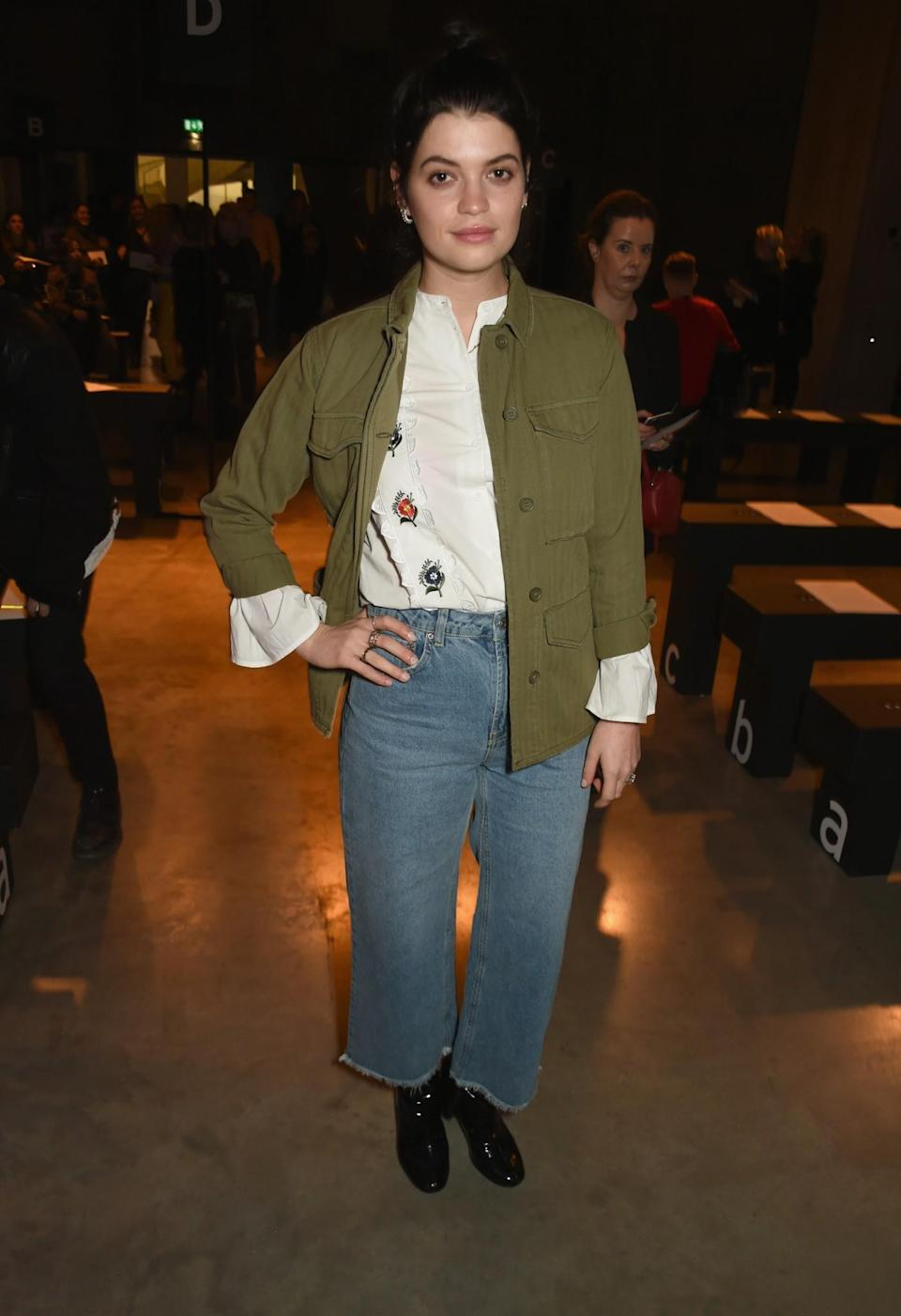 <p>Pixie Geldof was casual in jeans and a khaki jacket. <i>[Photo: Getty]</i> </p>