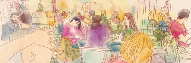 Digital handmade drawing of people at a cafe