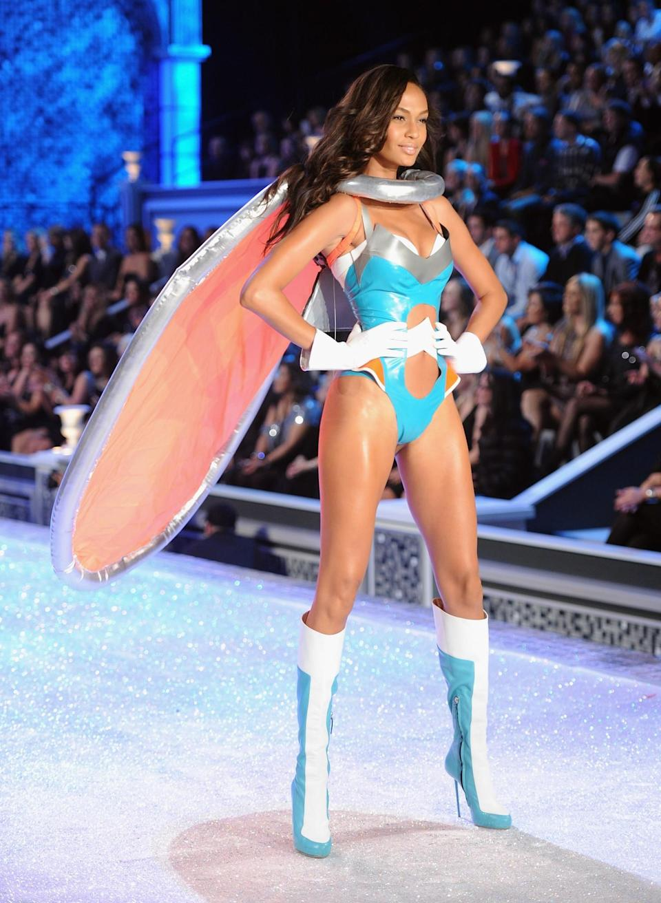 <p>We're still not quite sure why Joan Smalls had something resembling a rubber ring attached to her neck during the 2011 show. [Photo: Getty] </p>