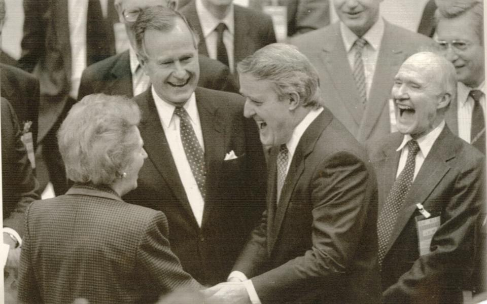 Scowcroft, right, at Nato headquarters in 1989 with Margaret Thatcher, President Bush and the Canadian prime minister Brian Mulroney  - Vince Mannino/Reuters