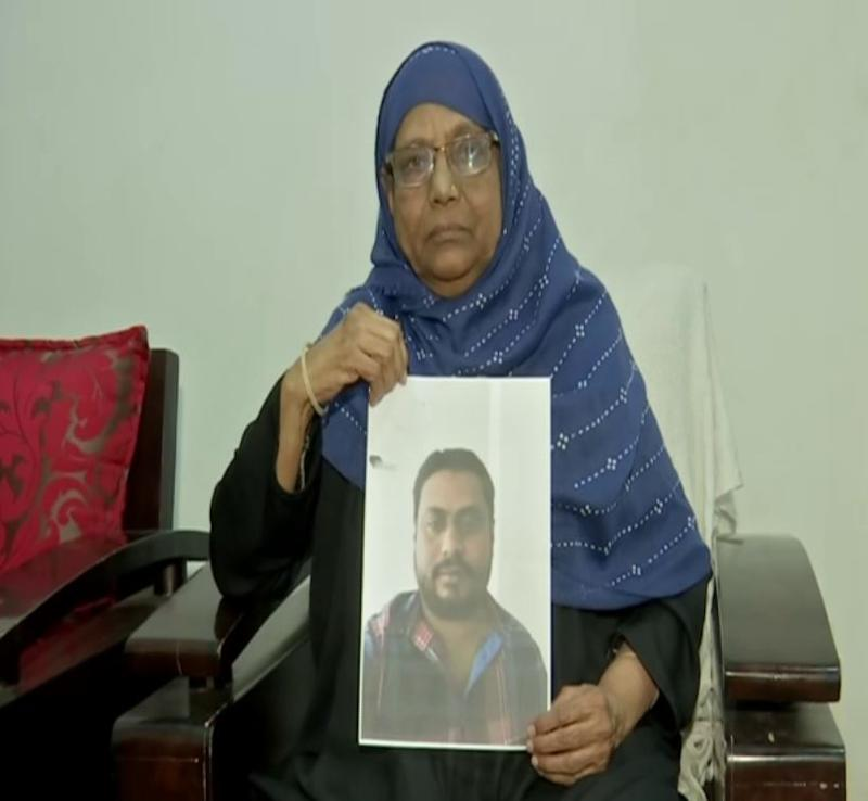 Iqbal Unnisa, mother of Viquar Ahmed an Indian national who is staying in Dammam, Saudi Arabia after going to jail. (Photo/ANI)