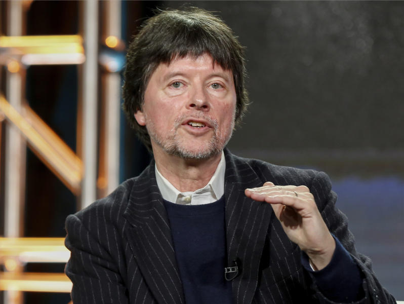 """FILe - In this Jan. 15, 2017 file photo, Ken Burns speaks at the PBS's """"The Vietnam War"""" panel at the 2017 Television Critics Association press tour in Pasadena, Calif. Burns announced Tuesday, March 27, 2017, that he and two partners will make a two-part, four-hour film about the former heavyweight champ (Photo by Willy Sanjuan/Invision/AP, File)"""