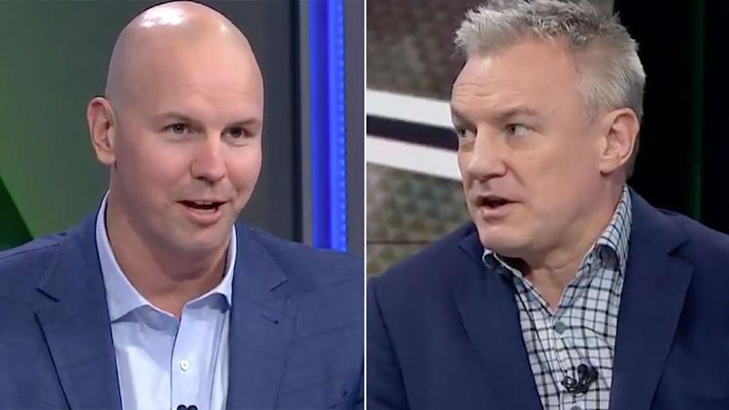 Pictured here, NRL experts James Hooper and Paul Kent discussing the game's financial crisis.