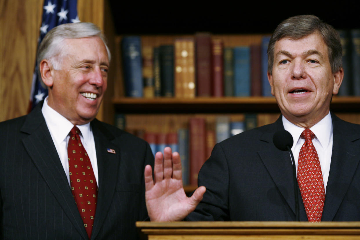 Rep. Roy Blunt, R-Mo., speaks as Rep. Steny Hoyer, R-Md., listens at a press conference on Oct. 3, 2008. The House of Representatives voted on a revised version of the financial rescue package. (Photo: Melissa Golden/Getty Images)