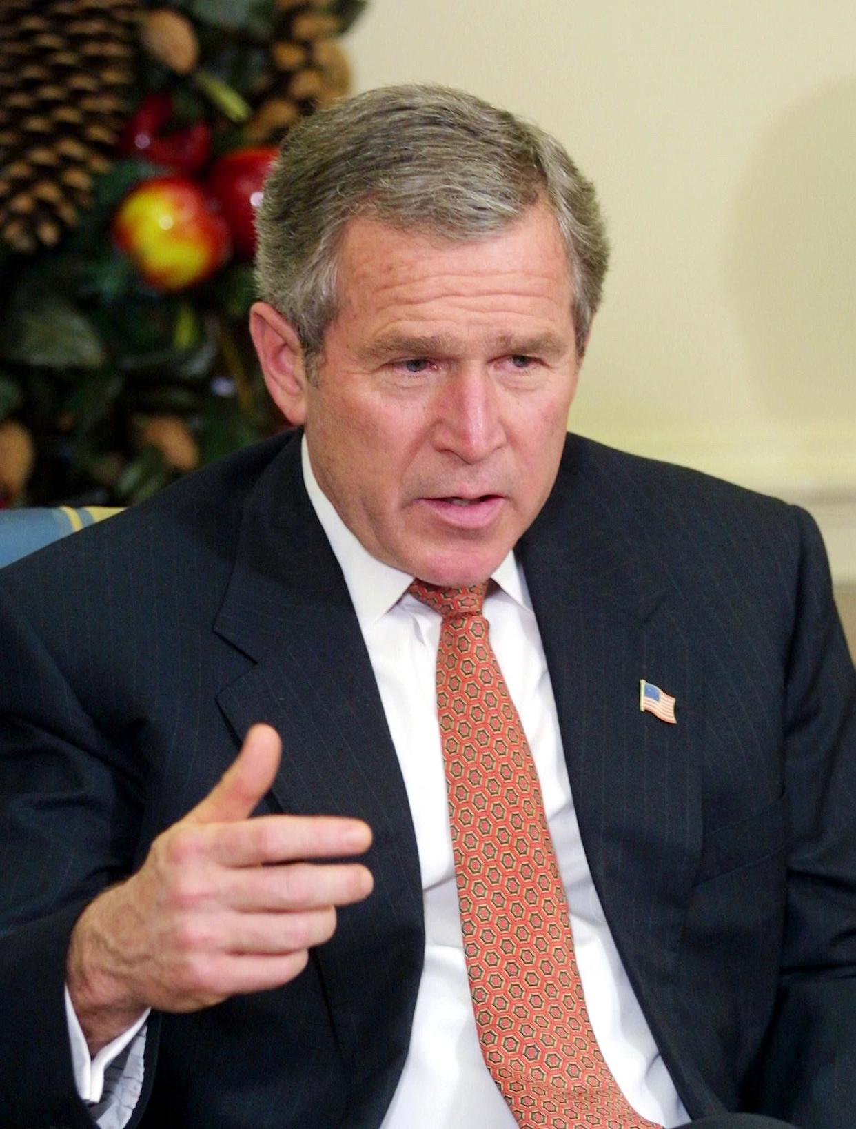 """<strong>""""It would be a mistake for the United States Senate to allow any kind of human cloning to come out of that chamber."""" </strong> -- April 10, 2002, at the White House, as Bush urged Senate passage of a broad ban on cloning. <a href=""""http://www.huffingtonpost.com/2009/01/03/bushisms-over-the-years_n_154969.html"""" rel=""""nofollow noopener"""" target=""""_blank"""" data-ylk=""""slk:Source: The Associated Press"""" class=""""link rapid-noclick-resp"""">Source: The Associated Press</a> (MANNY CENETA/AFP/Getty Images)"""