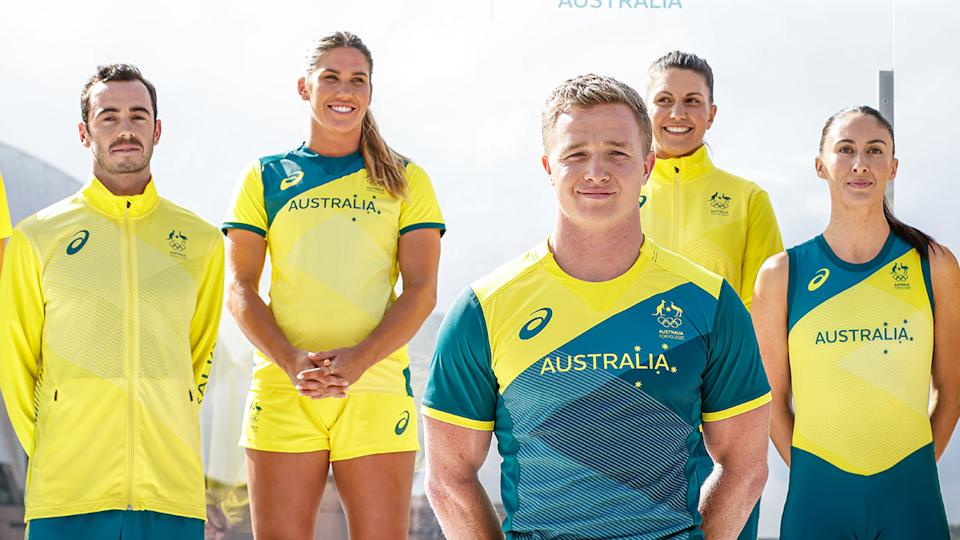Pictured here, some of Australia's athletes showcasing the new Olympic uniforms.