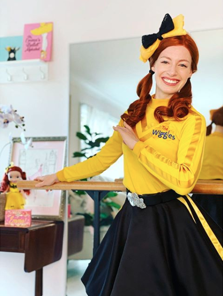 Emma Watkins in her Emma Wiggle outfit