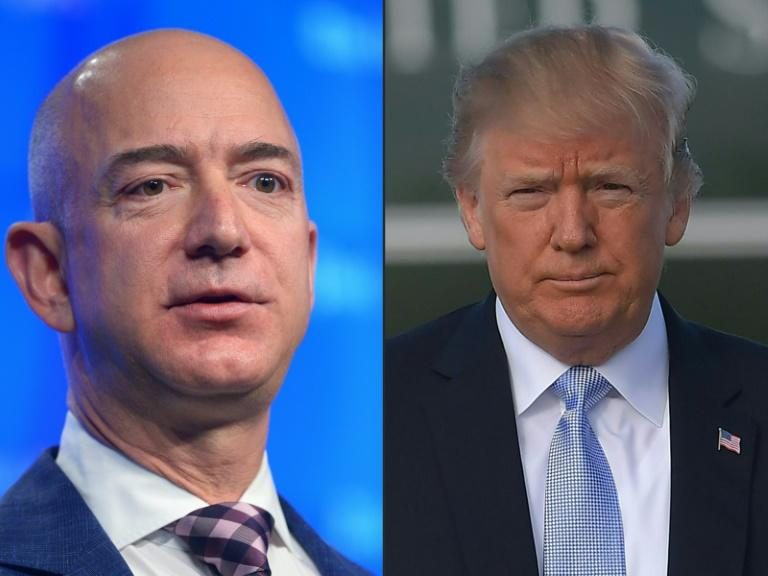 Amazon says the tech giant lost a major Pentagon cloud computing contract because of President Donald Trump's animosity for its CEO Jeff Bezos (AFP Photo/Mandel Ngan, MANDEL NGAN)