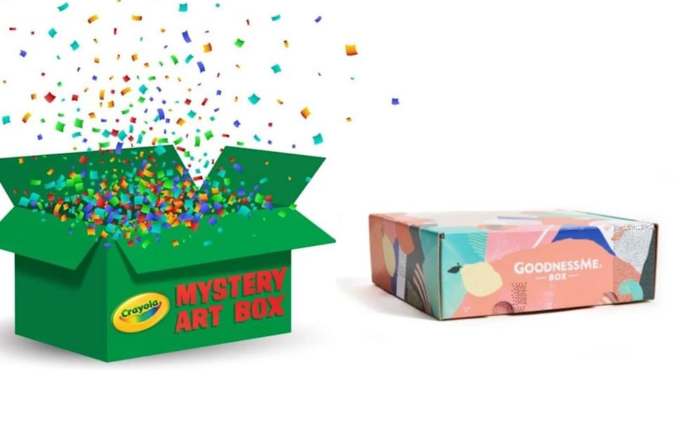 The Mystery Art Boxes from Crayola are a hit with kids, while the GoodnessMe Mystery Boxes have a range of healthy snacks to try. Source: Supplied.