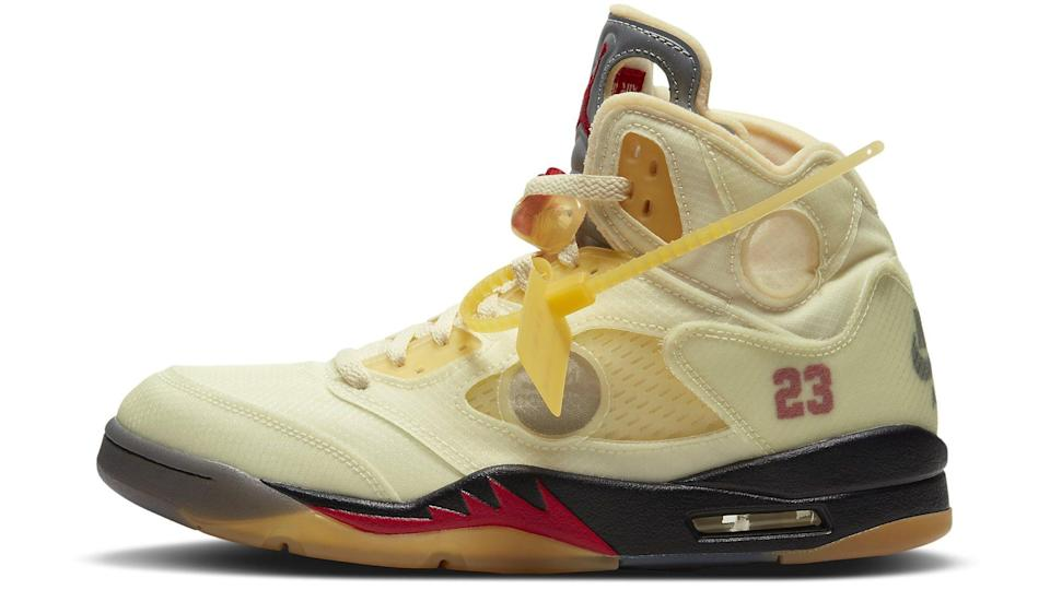 """The lateral side of the Off-White x Air Jordan 5 Retro """"Sail."""" - Credit: Courtesy of Nike"""
