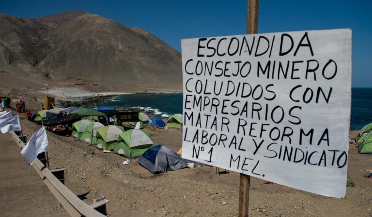 A camp set by striking workers of the world's biggest copper mine, Escondida, in Antofagasta, Chile, is seen on March 10, 2017