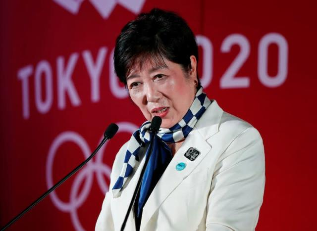 Tokyo Governor Yuriko Koike delivers a speech during a ceremony celebrating one year out from the start of the summer games in Tokyo