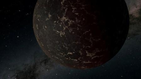 An artist's conception of an exoplanet beyond our own solar system known to astronomers as LHS 3844b, which lies about 48.6 light years from earth