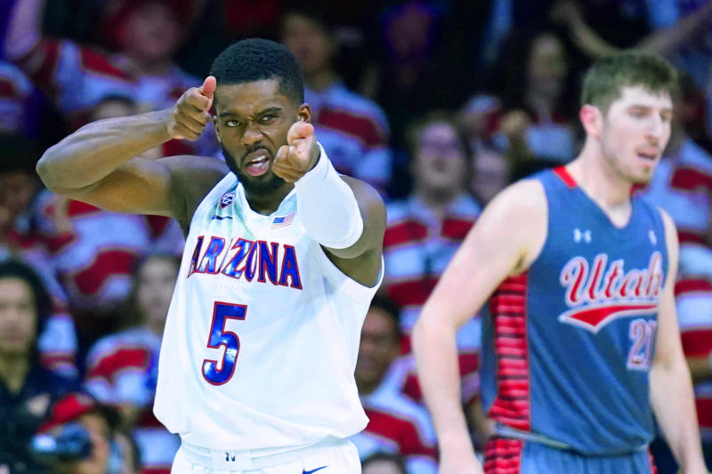 Arizona guard Max Hazzard (5) reacts after making a three-point basket against Utah during the second half of an NCAA college basketball game Thursday, Jan. 16, 2020, in Tucson, Ariz. Arizona won 93-77. (AP Photo/Rick Scuteri)