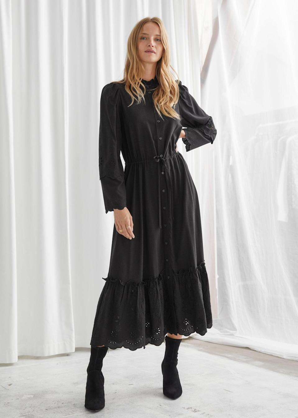 <p>This <span>& Other Stories Embroidered Button-Up Scallop Midi Dress</span> ($99, originally $149) is perfect for fall.</p>