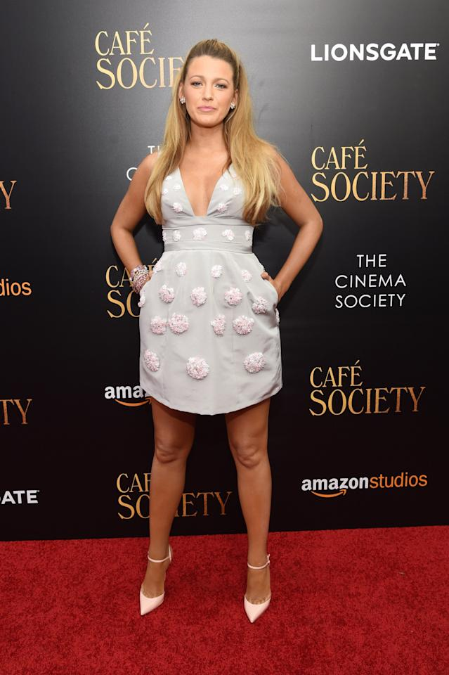 <p>Clad in an embellished plunging mini dress, Blake pulled off the perfect summer red carpet look at the'Cafe Society' premiere. <i>[Photo: Getty]</i></p>