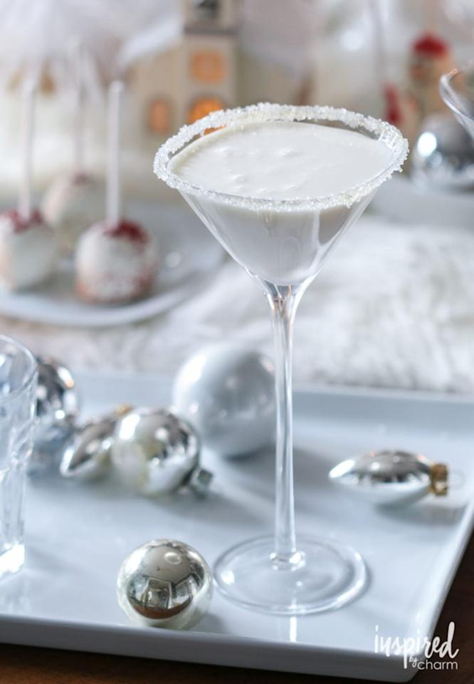"""<p><strong>Get the recipe: </strong><a href=""""http://inspiredbycharm.com/2016/11/white-christmas-martini.html"""" target=""""_blank"""" class=""""ga-track"""" data-ga-category=""""Related"""" data-ga-label=""""http://inspiredbycharm.com/2016/11/white-christmas-martini.html"""" data-ga-action=""""In-Line Links"""">white Christmas martini</a></p>"""