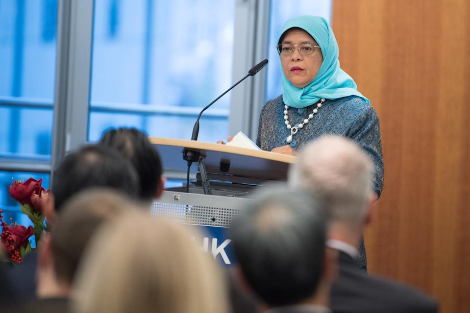 09 December 2019, Berlin: Singapore's President Halimah Yacob Speaks at DIHK - Deutscher Industrie- und Handelskammertag e. V. Several memoranda are to be signed to intensify economic relations between Germany and Singapore. Photo: Jörg Carstensen/dpa (Photo by Jörg Carstensen/picture alliance via Getty Images)