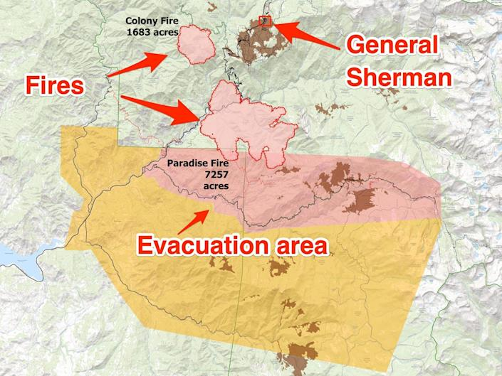 arrows on a map point to the location of the Colony and Paradise fires, and the location of General Sherman