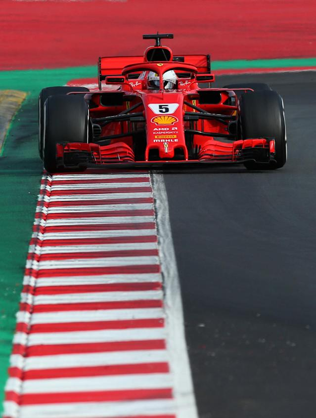 Motor Racing - F1 Formula One - Formula One Test Session - Circuit de Barcelona-Catalunya, Montmelo, Spain - March 8, 2018. Ferrari's Sebastian Vettel drives during testing. REUTERS/Albert Gea