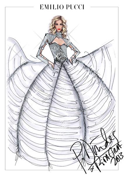 <b>Rita Ora's Emilio Pucci Radioactive tour wardrobe design sketches </b><br><br>Peter Dundas designed a futuristic style gown with oversized skirt and silver sleeves.<br><br>© Emilio Pucci
