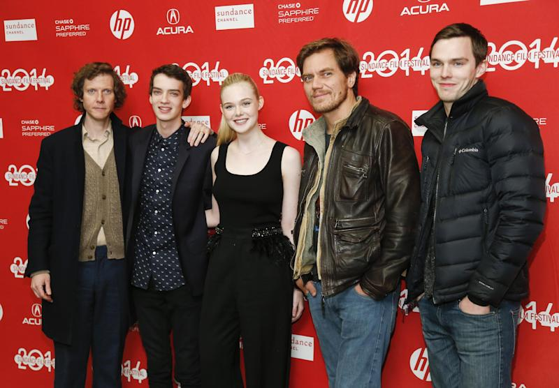 """From left to right, writer and director Jake Paltrow, cast members Kodi Smit-McPhee, Elle Fanning, Michael Shannon, and Nicholas Hoult pose at the premiere of the film """"Young Ones"""" during the 2014 Sundance Film Festival, on Saturday, Jan. 18, 2014 in Park City, Utah. (Photo by Danny Moloshok/Invision/AP)"""