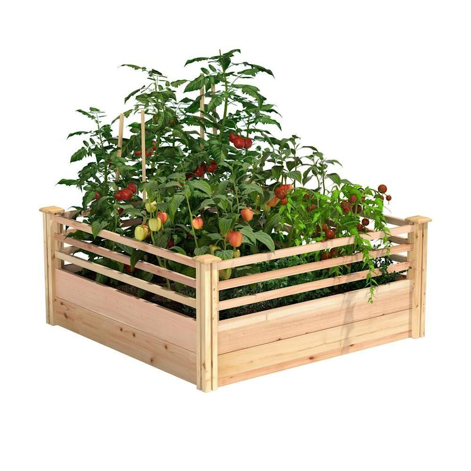 """<p><strong>Miracle-Gro</strong></p><p>homedepot.com</p><p><strong>$192.00</strong></p><p><a href=""""https://go.redirectingat.com?id=74968X1596630&url=https%3A%2F%2Fwww.homedepot.com%2Fp%2FMiracle-Gro-48-in-L-x-48-in-W-x-11-in-H-Cedar-Raised-Garden-Bed-with-Corral-Sides-RCMG4411COR%2F312893763&sref=https%3A%2F%2Fwww.bestproducts.com%2Fhome%2Foutdoor%2Fg1366%2Fraised-garden-beds-boxes%2F"""" rel=""""nofollow noopener"""" target=""""_blank"""" data-ylk=""""slk:Shop Now"""" class=""""link rapid-noclick-resp"""">Shop Now</a></p><p>This raised garden bed has a modular design that allows you to easily expand its footprint if necessary, along with unique corral-style fencing that's meant to be a trellis for vine-y plants. </p><p>Made of untreated cedarwood, the bed is easy to set up and even easier to maintain since you provide the nutrient-rich soil that allows your plants to flourish. </p>"""