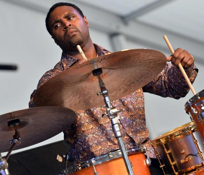 Drummer Kendrick Scott, shown here at the 2013 New Orleans Jazz & Heritage Music Festival, composed a new song set to protest chants (AFP Photo/RICK DIAMOND)