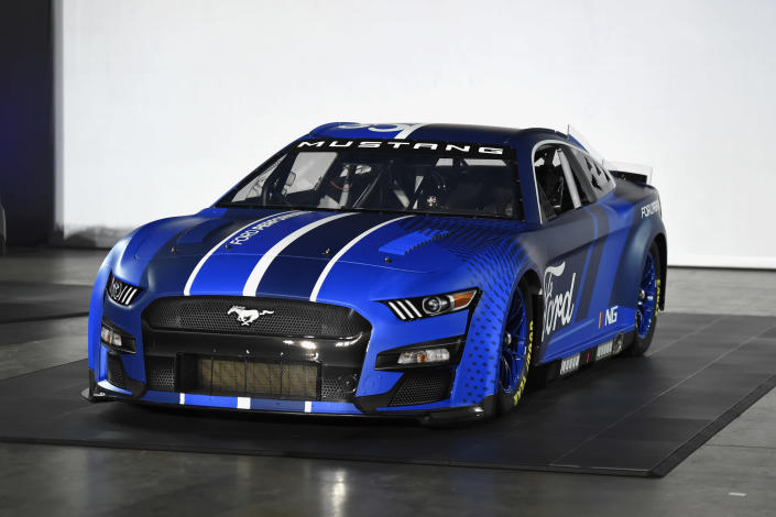 The 2022 Next Gen Ford Mustang Cup car was unveiled during a NASCAR media event in Charlotte, N.C., Wednesday, May 5, 2021. (AP Photo/Mike McCarn)