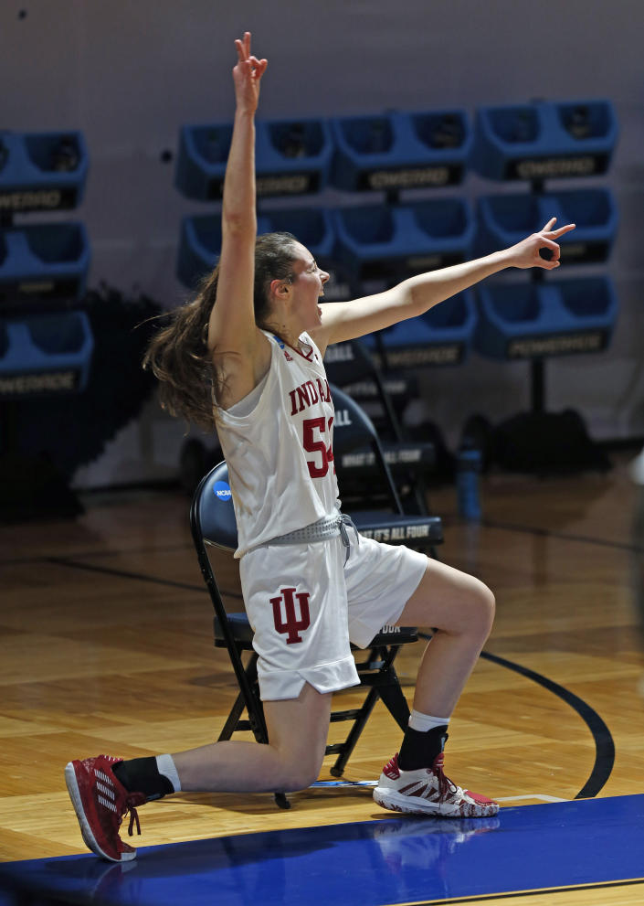 Indiana forward MacKenzie Holmes (54) celebrates a basket against Belmont during the first half of a college basketball game in the second round of the NCAA women's tournament at Greehey Arena in San Antonio on Wednesday, March 24, 2021. (AP Photo/Ronald Cortes)