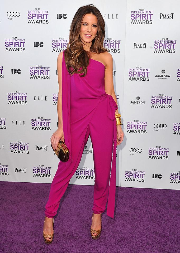 SANTA MONICA, CA - FEBRUARY 25:  Kate Beckinsale arrive at the 2012 Independent Spirit Awards at Santa Monica Pier on February 25, 2012 in Santa Monica, California.  (Photo by Steve Granitz/WireImage)