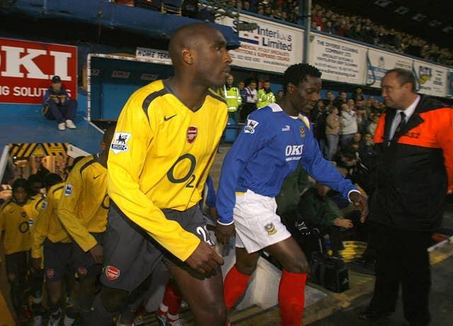 Campbell, left, returned to action for Arsenal after a 10-week lay-off at Portsmouth in 2006