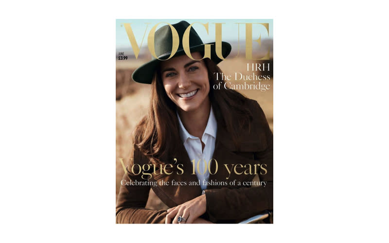 <p>In a surprise move, the Duchess of Cambridge starred on the cover of British Vogue to celebrate the publication's 100th issue. <em>[Photo: Vogue]</em> </p>