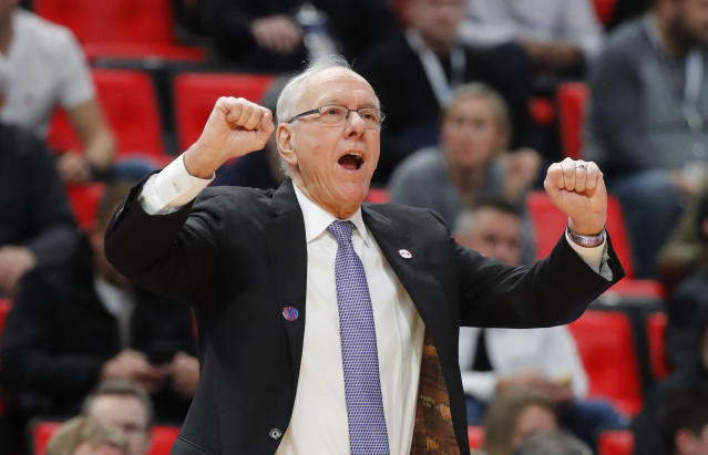 Syracuse head coach Jim Boeheim gives instructions against TCU during the first half of an NCAA men's college basketball tournament first-round game in Detroit, Friday, March 16, 2018. (AP Photo/Paul Sancya)