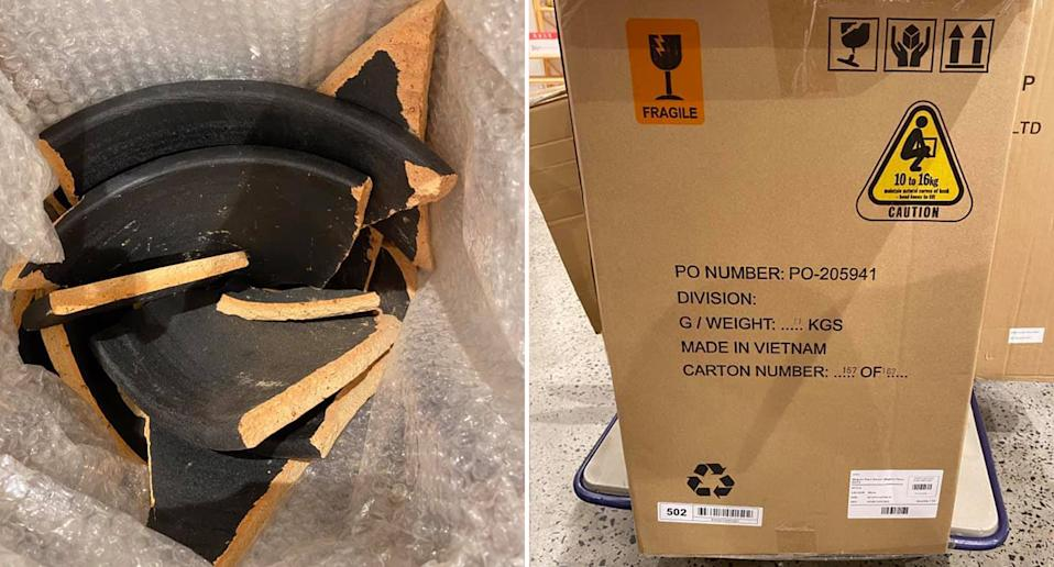 Pictured is the Adairs customer's broken planter and the box it came in.