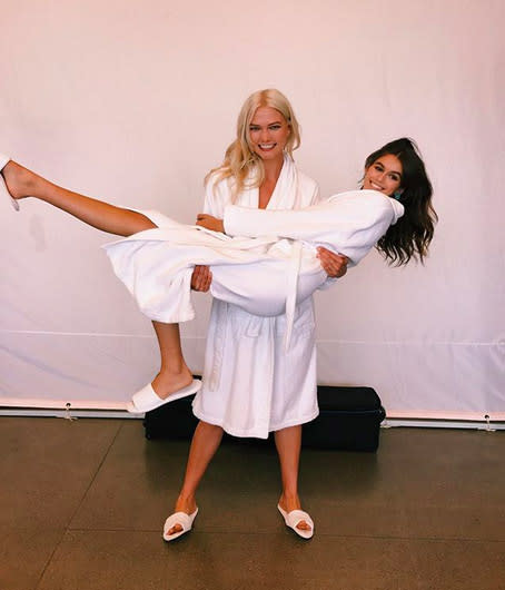 "<p>Kaia has shared some behind-the-seams shots from fashion week. Here she is getting a lift from her ""big sis"" Karlie Kloss — or should we rename her Karlie <em>""Muscles""</em> Kloss? (Photo: <a href=""https://www.instagram.com/p/BYtKT0HBoXu/?hl=en&taken-by=kaiagerber"" rel=""nofollow noopener"" target=""_blank"" data-ylk=""slk:Kaia Gerber via Instagram"" class=""link rapid-noclick-resp"">Kaia Gerber via Instagram</a>) </p>"