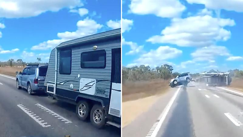The terrifying footage shows the moments a car towing a caravan lost control and flipped while driving down a Queensland Highway. Source: Queensland Police.