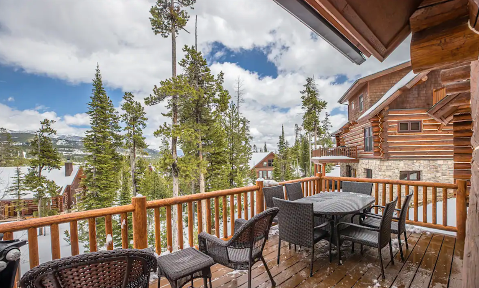 """<h2>Big Sky Mountain Village, Montana</h2><br><strong>Location:</strong> Gallatin Gateway, MT<br><strong>Sleeps:</strong> 12<br><strong>Price Per Night:</strong> <a href=""""https://airbnb.pvxt.net/NKGOe2"""" rel=""""nofollow noopener"""" target=""""_blank"""" data-ylk=""""slk:$470"""" class=""""link rapid-noclick-resp"""">$470</a><br><br>""""...Picture yourself here enjoying the views, hot tub, and access to the mountain with your friends and family. Pretty easy, right? The cabin allows your group to spread out due to the accommodating layout and stay together in the living space — both [in]doors and out!<br><br>The Mountain Village provides numerous activities like ziplining, rock wall climbing, dining options, and of course mountain biking.""""<br><br><h3>Book <a href=""""https://airbnb.pvxt.net/NKGOe2"""" rel=""""nofollow noopener"""" target=""""_blank"""" data-ylk=""""slk:Montana Mountain Getaway With Private Hot Tub"""" class=""""link rapid-noclick-resp"""">Montana Mountain Getaway With Private Hot Tub</a></h3>"""