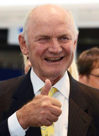 FILE PHOTO: Piech chairman of the supervisory board of  German carmaker Volkswagen gives thumbs up during his visit at the IAA truck show in Hanover