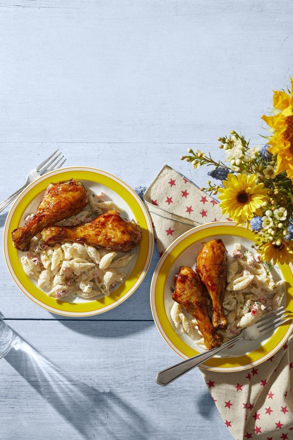 "<p>This homemade barbecue sauce makes the best chicken drumsticks. Serve it with macaroni salad, potato salad, or your favorite summer sides. </p><p><a href=""https://www.thepioneerwoman.com/food-cooking/recipes/a32346143/barbecue-chicken-drumsticks-recipe/"" rel=""nofollow noopener"" target=""_blank"" data-ylk=""slk:Get Ree's recipe."" class=""link rapid-noclick-resp""><strong>Get Ree's recipe. </strong></a></p><p><a class=""link rapid-noclick-resp"" href=""https://go.redirectingat.com?id=74968X1596630&url=https%3A%2F%2Fwww.walmart.com%2Fsearch%2F%3Fquery%3Dbasting%2Bbrush&sref=https%3A%2F%2Fwww.thepioneerwoman.com%2Ffood-cooking%2Fmeals-menus%2Fg36109352%2Ffathers-day-dinner-recipes%2F"" rel=""nofollow noopener"" target=""_blank"" data-ylk=""slk:SHOP BASTING BRUSHES"">SHOP BASTING BRUSHES</a></p>"