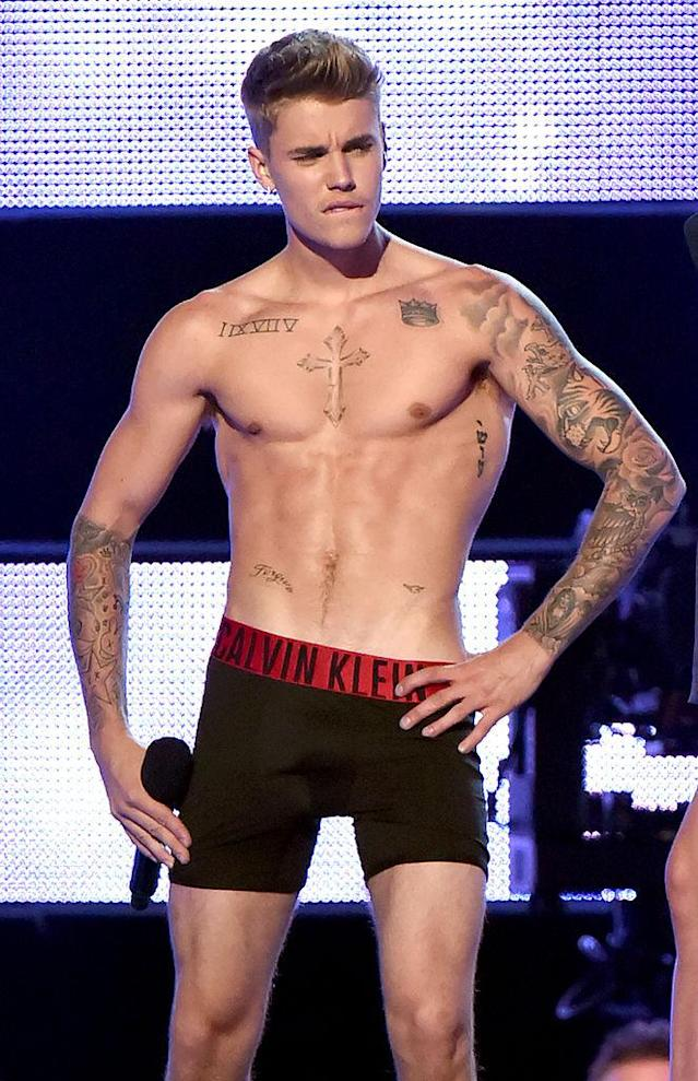 Just a few years back, in September 2014, Justin Bieber's torso looked mighty different. (Photo: Getty Images)