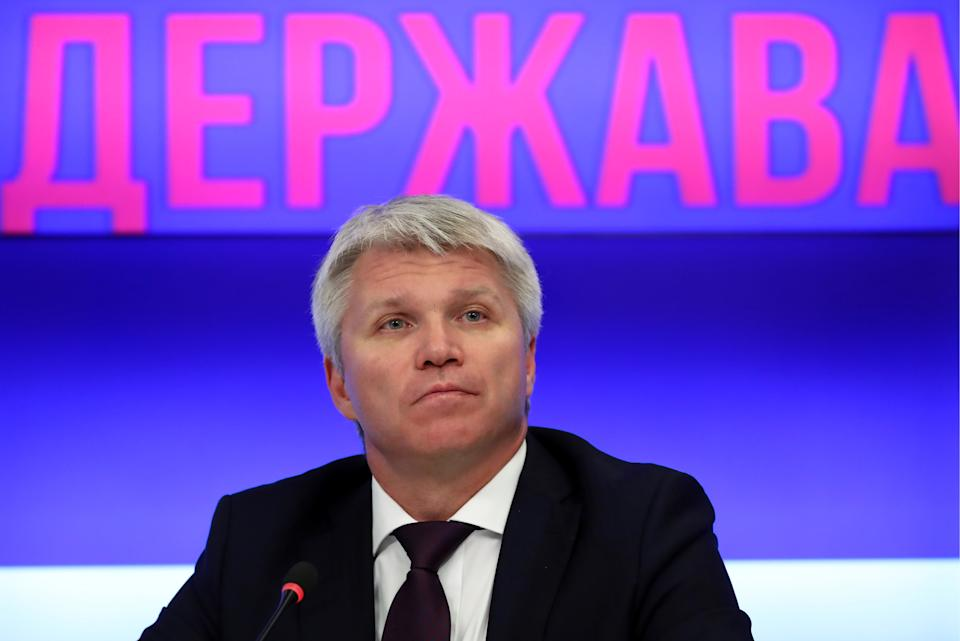 """MOSCOW, RUSSIA - SEPTEMBER 12, 2019: Russia's Sports Minister Pavel Kolobkov during a press conference on the 8th """"Russia Is A Sports Country"""" international sports forum, at the Rossiya Segodnya news agency. Anton Novoderezhkin/TASS (Photo by Anton Novoderezhkin\TASS via Getty Images)"""